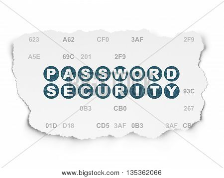 Safety concept: Painted blue text Password Security on Torn Paper background with  Hexadecimal Code