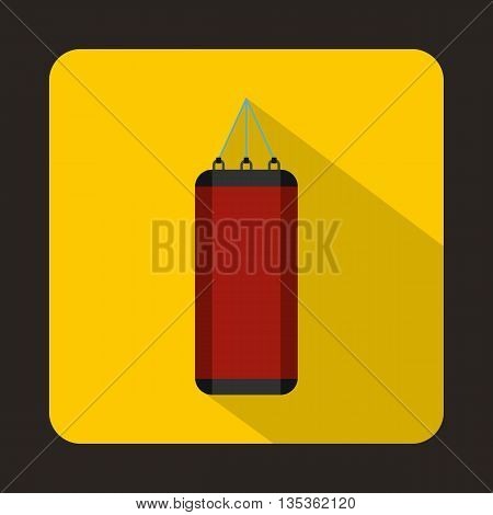 Red punching bag for boxing icon in flat style on a yellow background