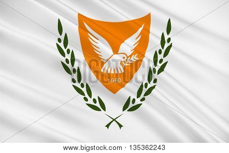 Flag of Cyprus officially the Republic of Cyprus is island country in the Eastern Mediterranean Sea off the coasts of Syria and Turkey. 3d illustration