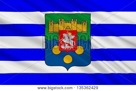 Flag of Adjara officially known as the Autonomous Republic of Adjara is an historical geographic and political-administrative region of Georgia. 3d illustration