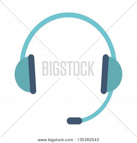 simple blue headset icon vector illustration flat style design