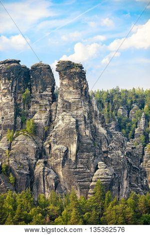 National park giant rocks with tiny man