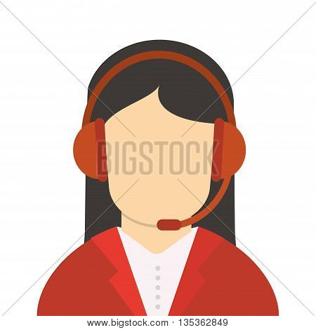 female person with red headseat and jacket on icon vector illustration