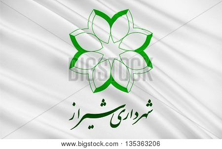 Flag of Shiraz is the sixth most populous city of Iran and the capital of Fars Province. 3D illustration