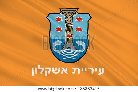 Flag of Ashkelon is a coastal city in the Southern District of Israel. 3d illustration