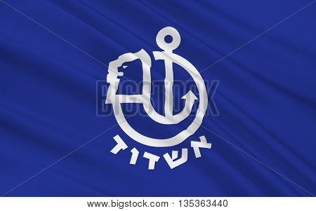 Flag of Ashdod is the sixth-largest city in Israel located in the Southern District of the country. 3d illustration