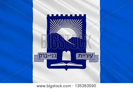 Flag of Bnei Brak is a city located on the central Mediterranean coastal plain in Israel just east of Tel Aviv. 3d illustration