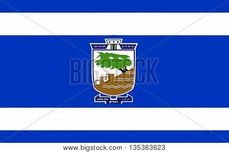 Flag of Holon is a city on the central coastal strip south of Tel Aviv Israel.
