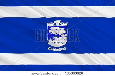 Flag of Holon is a city on the central coastal strip south of Tel Aviv Israel. 3d illustration