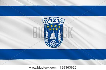 Flag of Herzliya is an affluent city in the central coast of Israel. 3d illustration