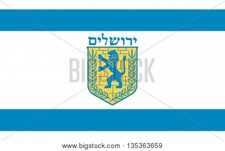 Flag of Jerusalem located on a plateau in the Judean Mountains between the Mediterranean and the Dead Sea is one of the oldest cities in the world.