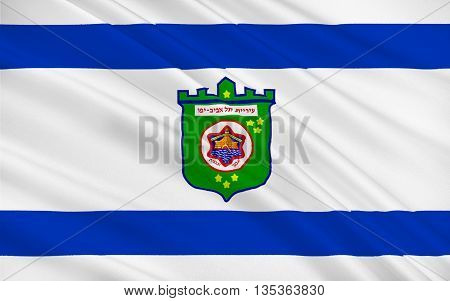 Flag of Tel Aviv is a major city in Israel the second-most populous city administered by the Israeli government after Jerusalem. 3d illustration