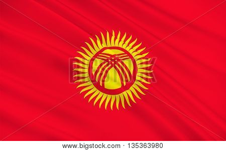 Flag of Kyrgyzstan officially the Kyrgyz Republic formerly known as Kirghizia is a landlocked country located in Central Asia. 3d illustration