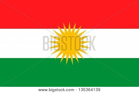 Flag of Kurdistan - ethno-geographical area in the Near East within which Kurds constitute an absolute or relative majority of the population.