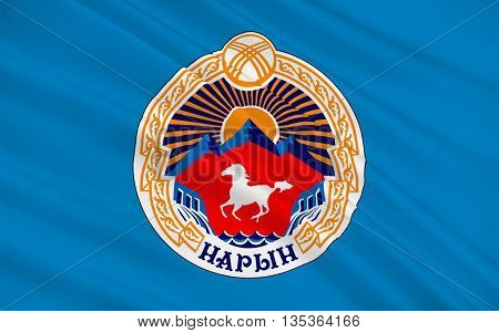 Flag of Naryn is the regional administrative center of Naryn Region in central Kyrgyzstan. 3d illustration