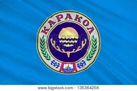 Flag of Karako formerly Przhevalsk is the fourth largest city in Kyrgyzstan near the eastern tip of Lake Issyk-Kul in Kyrgyzstan. 3d illustration