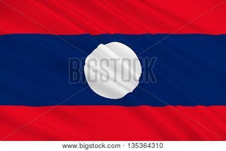 Flag of Laos officially the Lao Peoples Democratic Republic (LPDR) is a landlocked country in the heart of the Indochinese peninsula of Mainland Southeast Asia. 3d illustration