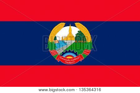 Flag of Laos officially the Lao Peoples Democratic Republic (LPDR) is a landlocked country in the heart of the Indochinese peninsula of Mainland Southeast Asia.