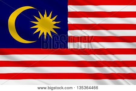 Flag of Malaysia is a federal constitutional monarchy located in Southeast Asia. 3D illustration