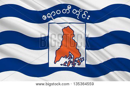 Flag of Ayeyarwady Region formerly Ayeyarwady Division and Irrawaddy Division is a region of Myanmar. 3D illustration