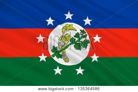Flag of Chin State is a state in western Myanmar. 3D illustration