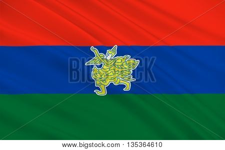Flag of Kayah State is a state of Myanmar. 3D illustration