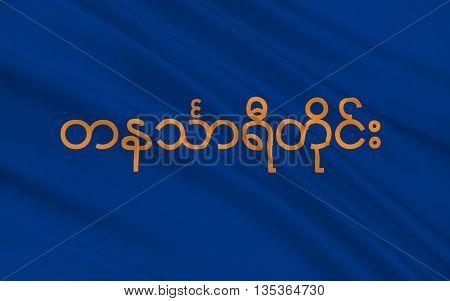 Flag of Tanintharyi Region formerly Tenasserim Division and subsequently Tanintharyi Division is an administrative region of Myanmar. 3D illustration