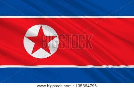 Flag of North Korea officially the Democratic Peoples Republic of Korea is a country in East Asia in the northern part of the Korean Peninsula. 3D illustration