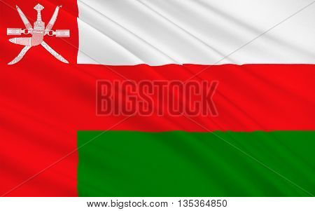 Flag of Oman officially the Sultanate of Oman is an Arab country in the southeastern coast of the Arabian Peninsula. 3d illustration