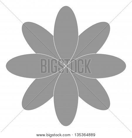 grey eight oval petal flower flat design icon vector illustration