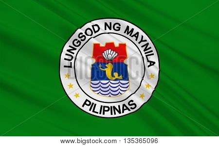 Flag of Manila is the capital city of the Philippines. 3D illustration