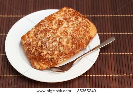 Pie Stuffed Meat And Cheese On Bamboo Napkin