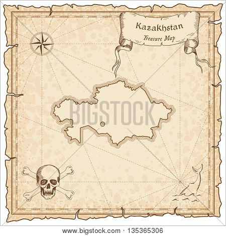 Kazakhstan Old Pirate Map. Sepia Engraved Template Of Treasure Map. Stylized Pirate Map On Vintage P