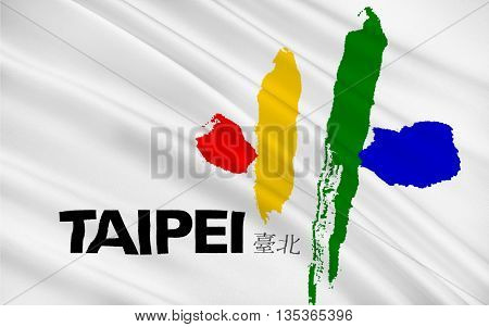 Flag of Taipei officially known as Taipei City is the capital city and a special municipality of the Republic of China commonly known as Taiwan. 3d illustration