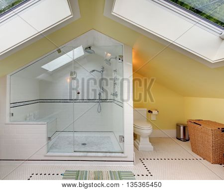 Modern Bathroom Upstairs With Large Shower And Vaulted Ceiling.