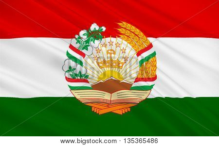 Flag of Tajikistan officially the Republic of Tajikistan is a mountainous landlocked country in Central Asia. 3d illustration