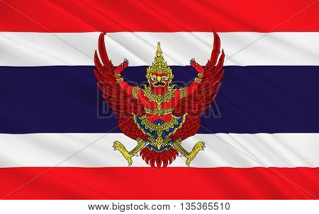 Flag of Thailand officially the Kingdom of Thailand formerly known as Siam is a country at the centre of the Indochinese peninsula in Mainland Southeast Asia. 3D illustration