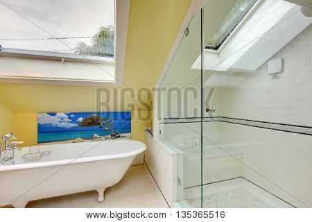 Bright Bathroom Interior Upstairs With Shower And Bathtub.