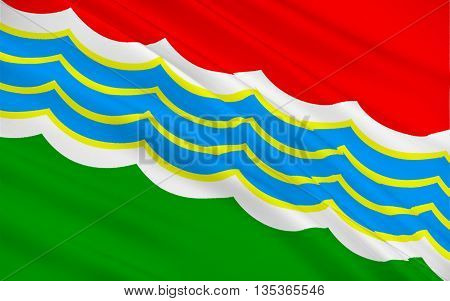 Flag of Tiraspol is internationally recognised as the second largest city in Moldova but is effectively capital of unrecognized Pridnestrovian Moldavian Republic (Transnistria). 3d illustration