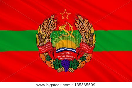 Flag of Transnistria is a partially recognized state located mostly on a strip of land between the River Dniester and the eastern Moldovan. 3d illustration