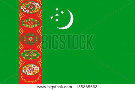 Flag of Turkmenistan is a country in Central Asia.