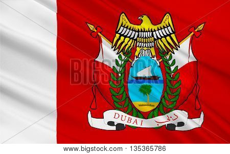 Flag of Emirate of Dubai is one of seven emirates that constitute the United Arab Emirates (UAE). 3D illustration