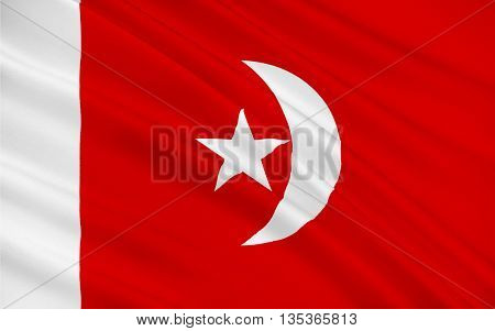 Flag of Umm al-Quwain is the least populous of the seven sovereign emirates in the United Arab Emirates located in the north of the country. 3D illustration