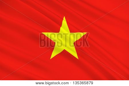 Flag of Vietnam officially the Socialist Republic of Vietnam is the easternmost country on the Indochina Peninsula in Southeast Asia. 3D illustration