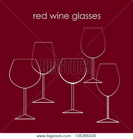 Types of red wine glasses vector illustration