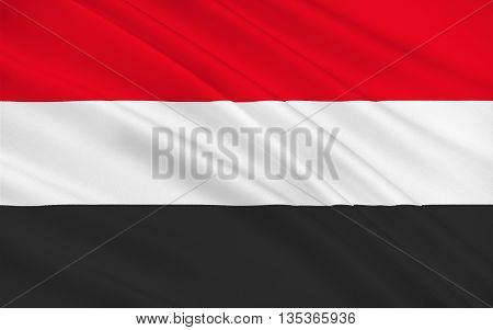 Flag of Yemen officially known as the Republic of Yemen is an Arab country in Western Asia occupying the southwestern to the southern end of the Arabian Peninsula. 3D rendering