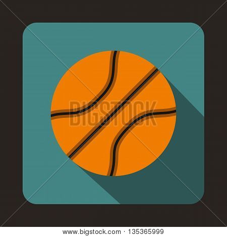 Basketball ball icon in flat style on a blue background