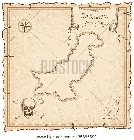 Pakistan Old Pirate Map. Sepia Engraved Template Of Treasure Map. Stylized Pirate Map On Vintage Pap