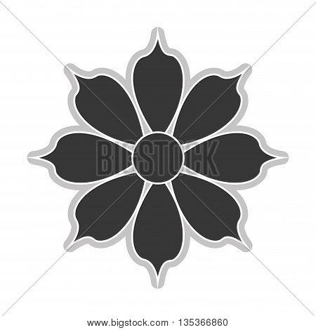grey eight petal flower flat design icon vector illustration