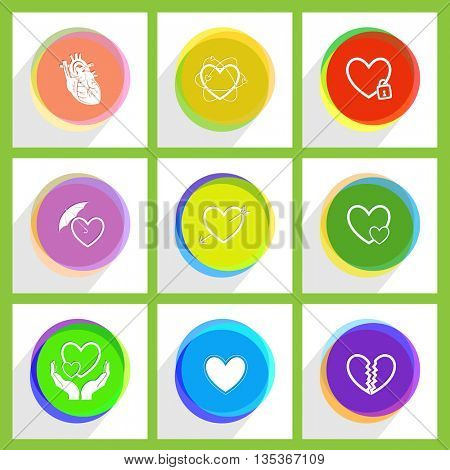 closed heart, careful heart, unrequited love, atomic, arrow, protection love, love in hands. Heart shape set. Internet template. Vector icons.